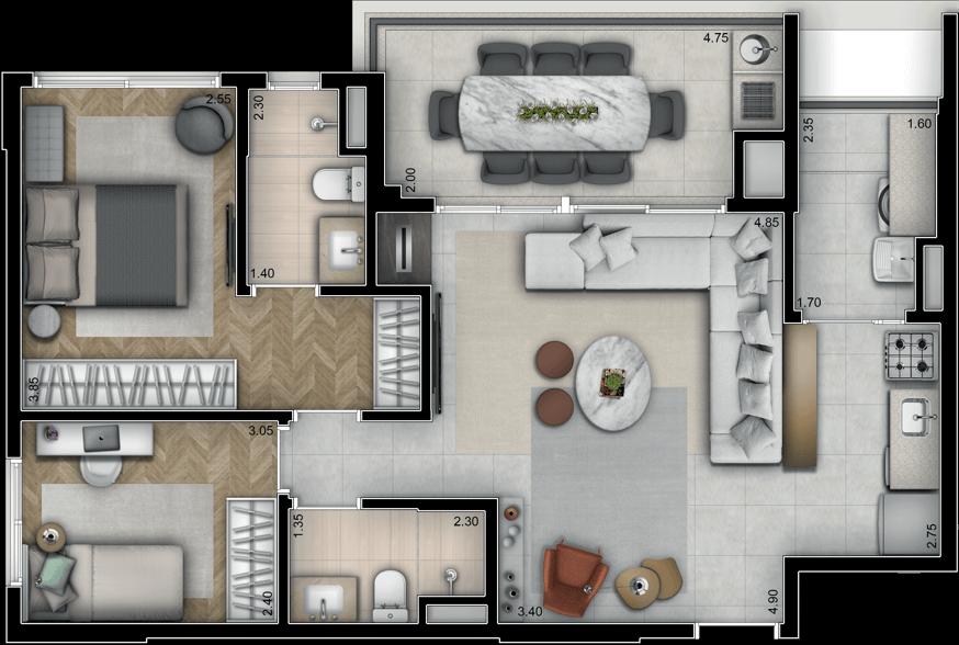Planta Opção 60m² | 2 Quartos (com suíte) e sala ampliada