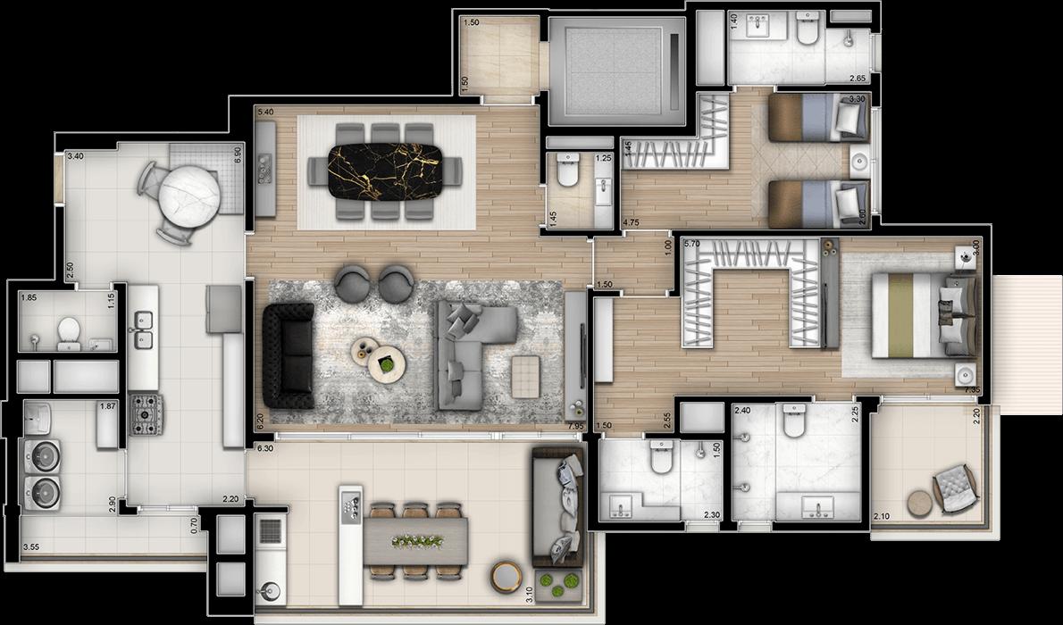 Planta Opção 161m² | 2 Suítes com sala ampliada