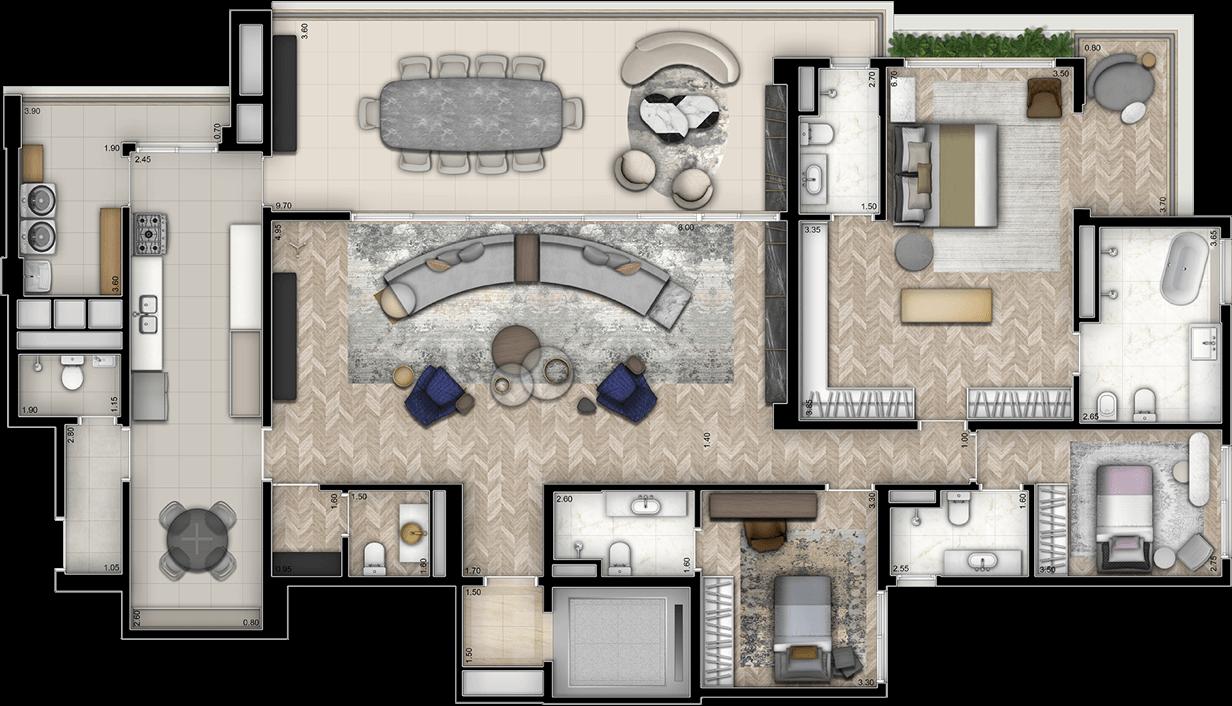 Planta Opção 244m² | 3 Suítes com sala ampliada