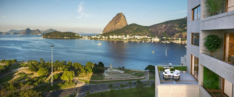 Fotomontagem do Detalhe da Fachada com Vista para Parque do Flamengo e Pão de Açúcar